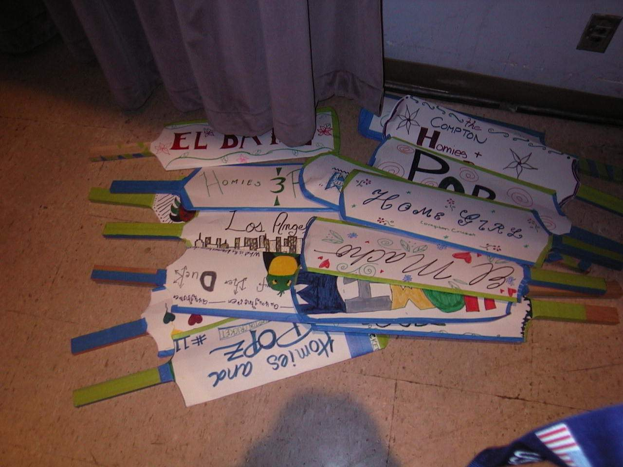 cricket bats made by students as props for Hip Hopera